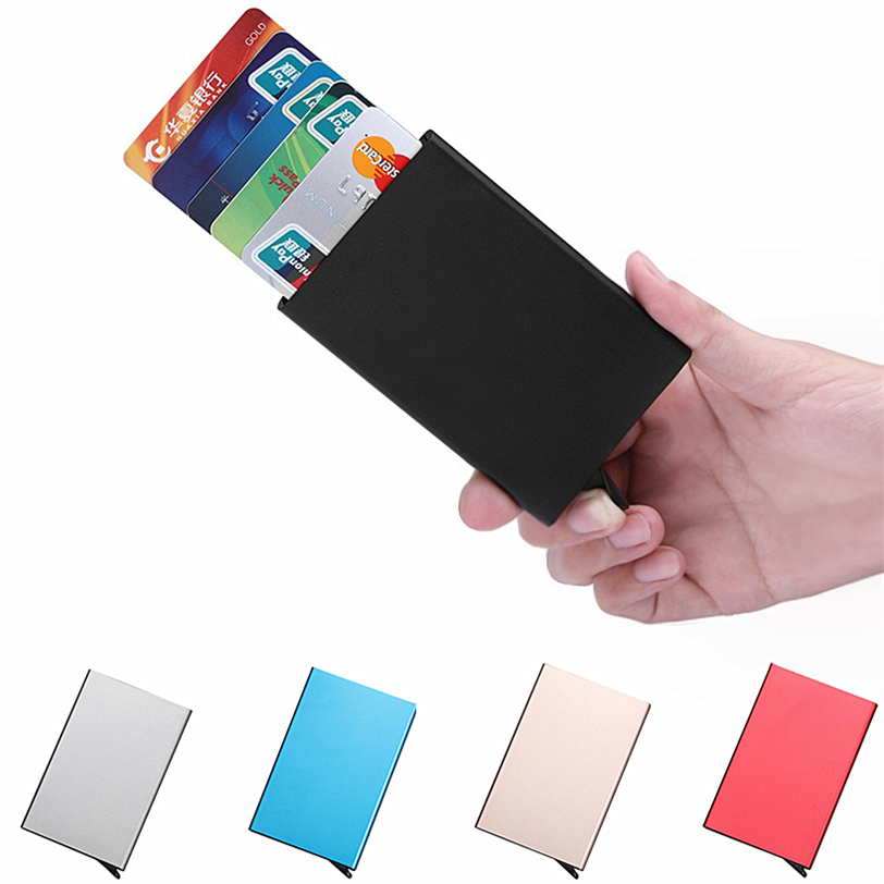 New Porte Carte Business ID Credit Metal Card Holder Wallets Pocket Case Bank Credit Card Package Case Metal Card Box Aluminium charming nice coneed best gift hot selling bank credit card package card holder business card case cigarette case may30 y40