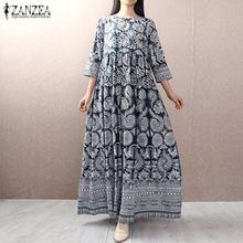 ZANZEA 2021 Chinese Style Plate Button Shirt Vestidos Women's Summer Sundress Female 3/4 Sleeve Robe Vintage Printed Maxi Dress