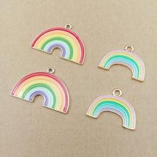 10pcs Alloy ENAMEL Rainbow Charms Metal Pendant Accessories Necklace Earrings Making Dangle Handmade DIY Materials Fashion YZ461