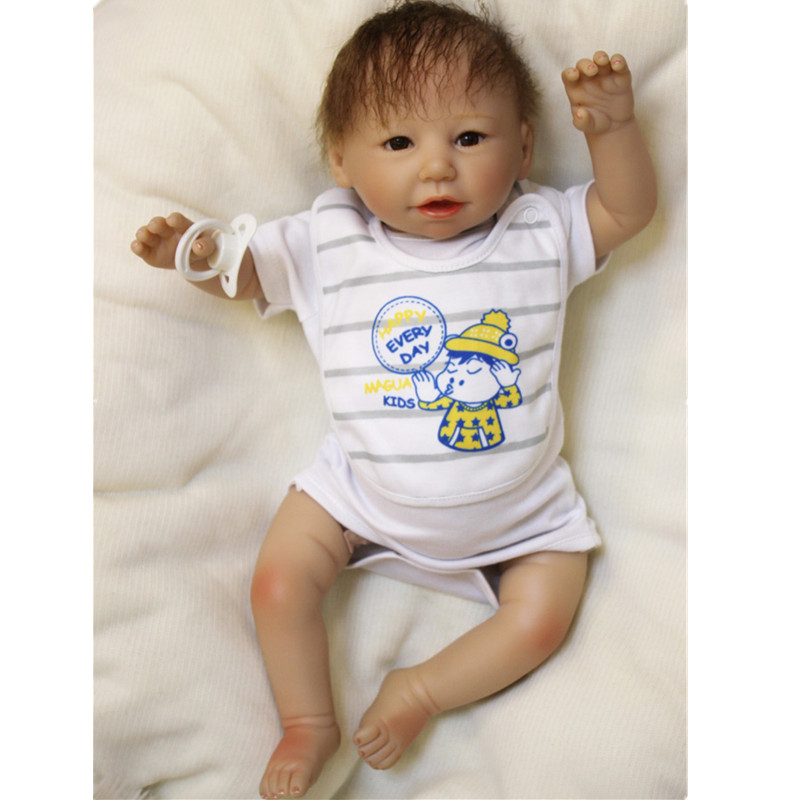2017 New 20inch Toy for Girls Soft Body Silicone Reborn Baby Doll Vinyl Newborn Babies Dolls Kids Child Gift Girl Brinquedos 2016 cotton body reborn babies lifelike princess girls doll toy rooted mohair gift for baby reborn poupon brinquedos new year