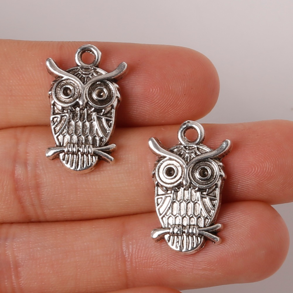 14x23mm 6pcs Owl Chamrs Pendant Plated Silver Jewelry Findings For Jewelry Making Necklace Bracelet DIY