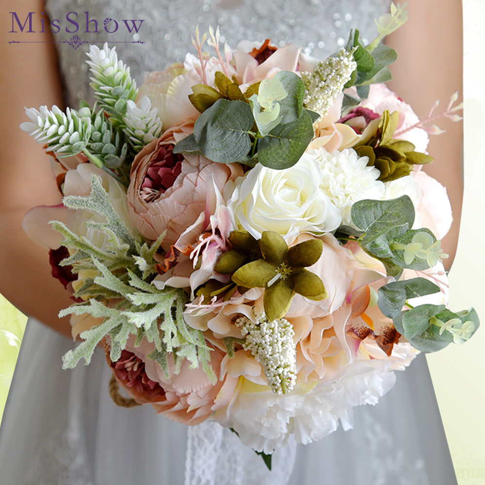 boquet casamento pink white red flowers bridal bouquets vintage wedding decoration artificial wedding bouquets vertido de noiva