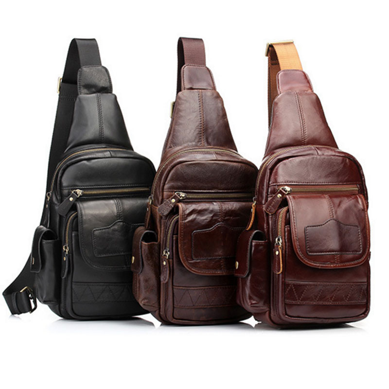 New Men's Genuine Leather Cowhide High Quality Crossbody Bags Single Shoulder Bag Travel Climb Sling Chest Pack