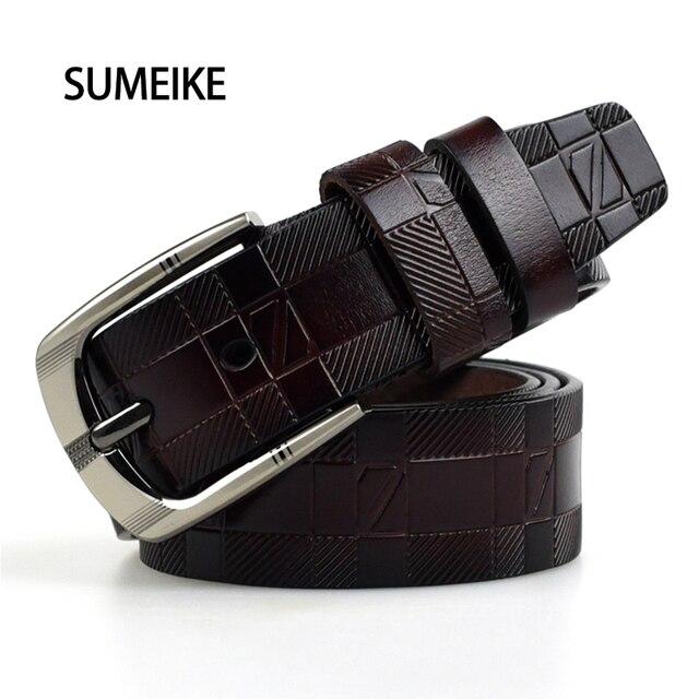 Men Belt 2016 Luxury Letter Print Pin Buckle Belt For Men Genuine Leather Mens Belts