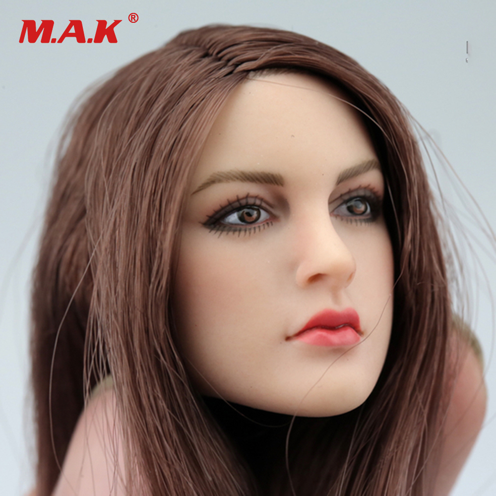 1/6 Female Head Sculpt KT005 European Girl Head Brown Hair For 12 inches Women HT PH Body Figure dstoys d 005 1 6 scale female head sculpt beauty girl headplay long curly hair for 12 ht phicen action figure