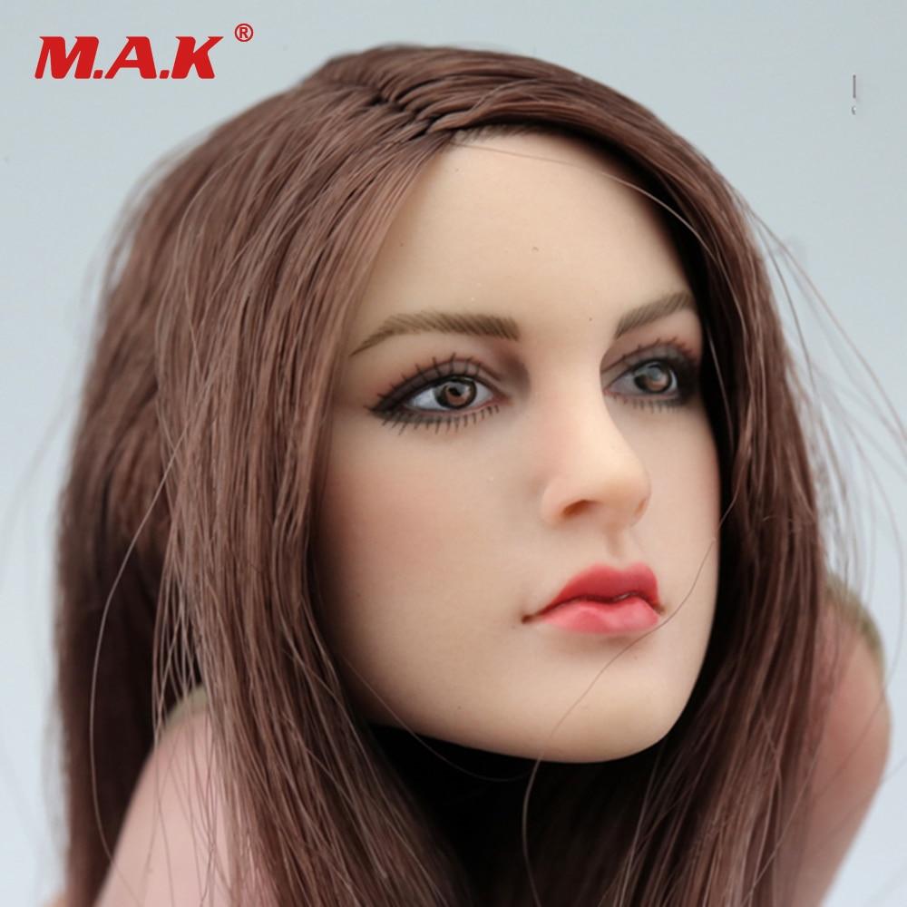 1/6 Femminile Testa Sculpt KT005 Europeo Ragazza Testa Brown Per 12 pollici Donne HT PH Figura Del Corpo