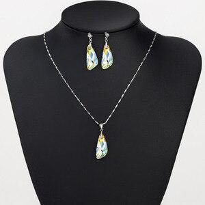 Image 3 - Neoglory kristal takı seti geometrik tarzı S925 gümüş kolye & küpe Swarovski kristalleri ile süslenmiş
