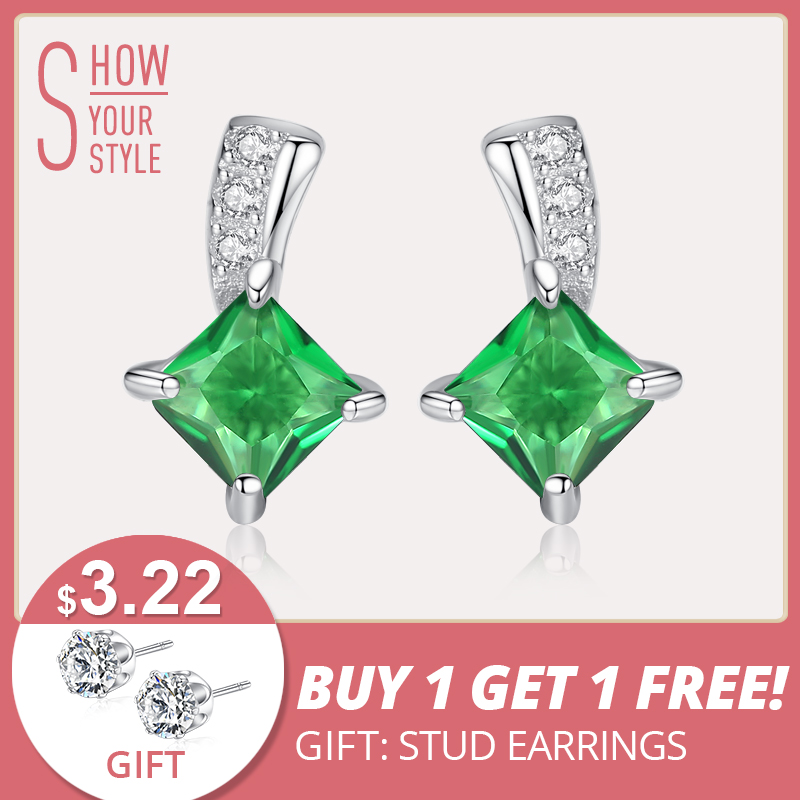 Czcity Model Cute Inexperienced Sq. Cubic Zirconia Crystal Silver Earrings Girl Small Stud Emerald Earrings For Girls Effective Jewellery