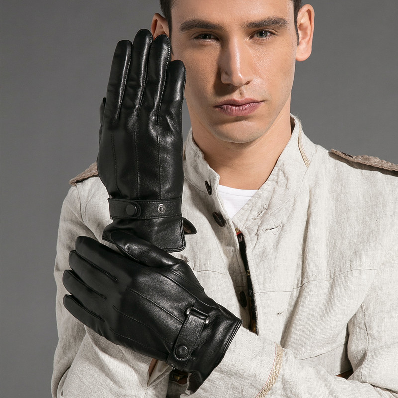 Magelier Genuine Leather Gloves for Men High Quality Black Classic Goatskin Gloves Fashion Button Warm In The Winter STM020