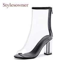 Stylesowner spring summmer pvc clear ankle rainboots for women open toe crystal high heel transparent shoes zipper ankle boots