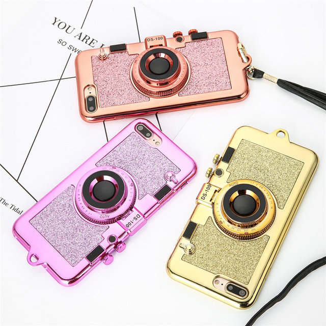 Camera Phone Case For iPhone 7 7 Plus 6 6s 6plus 6s plus Shockproof Metal Long Strap Rope back covers for iPhone7