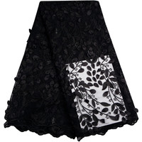 Black Color African Lace Fabric New Arrival African Net Lace Wedding Dresses Guipure High Quality 3D