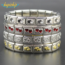 Hapiship 9mm Width Fashion Jewelry Stainless Steel Gold Silver Black Red Heart Bracelet Bangle For Best Friend Wife's Gift G031