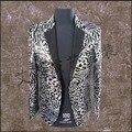 HOT 2016 Nueva ropa de los hombres BIGBANG derecha Zhi-long GD concierto plata lentejuelas leopardo traje de cantante de club nocturno trajes de la etapa Blazers