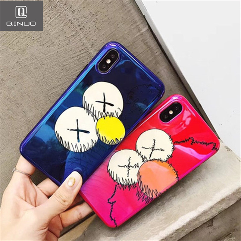 US $3 4 |QINUO Cute KAWS Sesame Street Case For iPhone 7 Plus 6 6S Brands  Laser KAWS Plush doll Soft TPU Cases For iPhone X 8 Back Cover-in Fitted