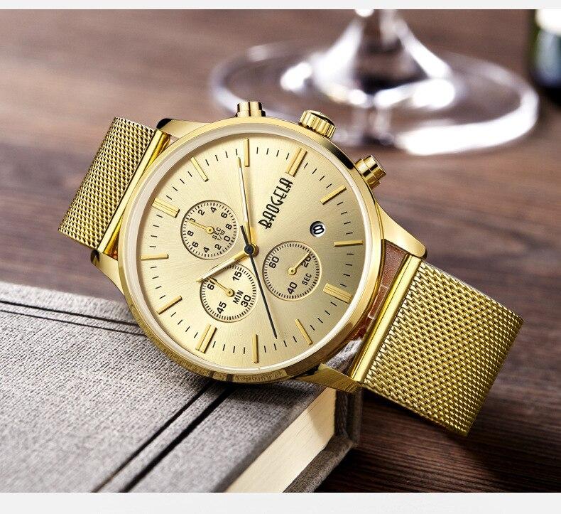 Zegarki 2018 New Fashion Design Men Calender Business Quartz Watch Golden stainless Steel Waterproof Luminous Sport Watch Hot Sa цена и фото
