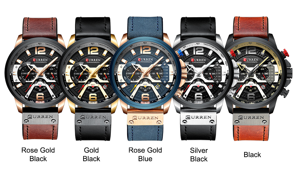 HTB1BI4ZKCzqK1RjSZFLq6An2XXaL CURREN Casual Sport Watches for Men Blue Top Brand Luxury Military Leather Wrist Watch Man Clock Fashion Chronograph Wristwatch