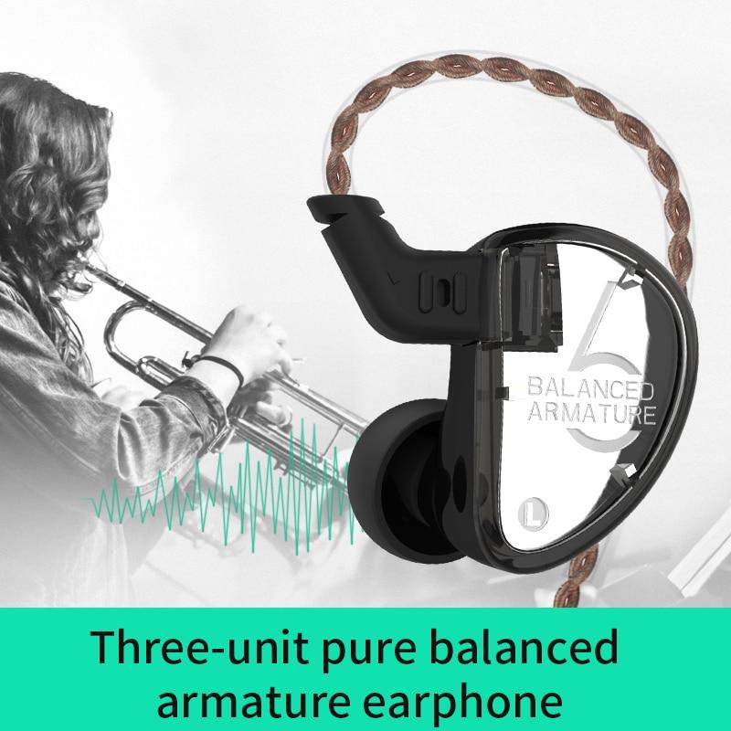 KZ AS06 Earphones 3BA Balanced Armature Driver HIFI Bass Headphones In Ear Monitor Sport Headset Noise Cancelling Earbuds Green