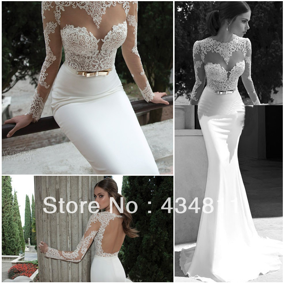 0a404dc7c2bdf Satin And Lace Trumpet Wedding Dress