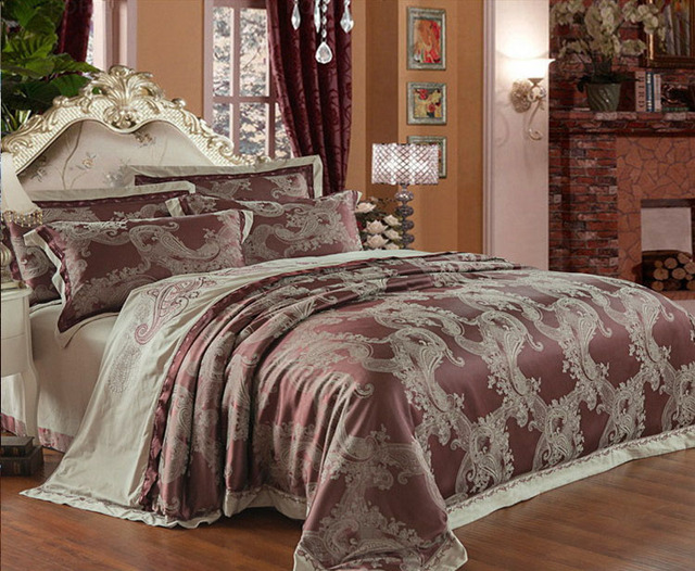 Tribute Silk Jacquard Bed Linen Fashional Bedspread King Queen Size  4pcs/6pcs Bed Set Embroidery