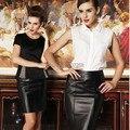 PU de couro do falso das mulheres novo 2014 elastic cintura alta escritório desgaste do partido bodycon pencil skirt saias femininas do vintage Plus Size