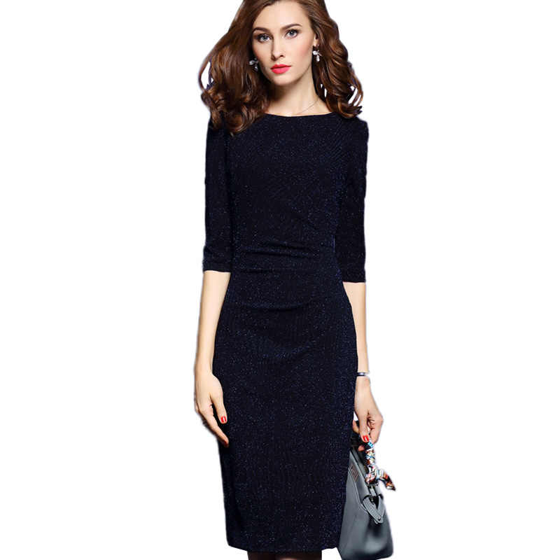 3e6024052df58 3XL Plus Size Womens Office Dresses Elegant Ladies Work Wear Dress ...