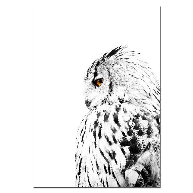 Nordic Hitam Putih Gaya Burung Hantu Salju Gunung Poster Kanvas