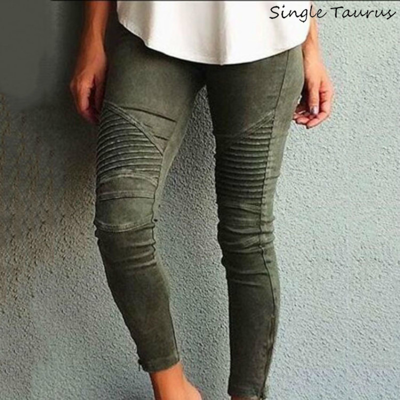 Europe America Moto Biker Jeans Women Cotton Washed Vintage Pleated Pencil Pants Femme Zipper High Elasticity Skinny Trousers