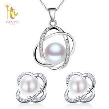 [Nymph] perla boda Juegos de joyería collar de perlas naturales colgante Pendientes fina moda partido regalo chica mujeres roset202