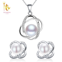 NYMPH Wedding Pearl Jewelry Sets Natural FreshWater Pearl Necklace Pendant Earrings Fine Trendy Party Gift