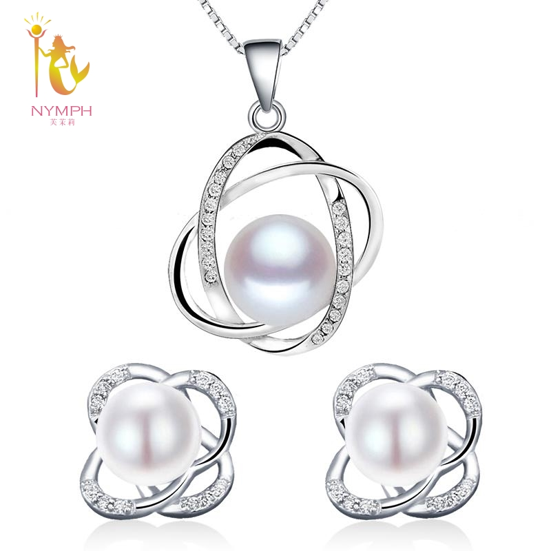 NYMPH Wedding Pearl Jewelry Sets Natural FreshWater Pearl Necklace Pendant Earrings Fine Trendy Party Gift Girl Women RoseT202 modern led pendant light for kitchen dining room living room suspension luminaire hanging white black bedroom pendant lamp avize