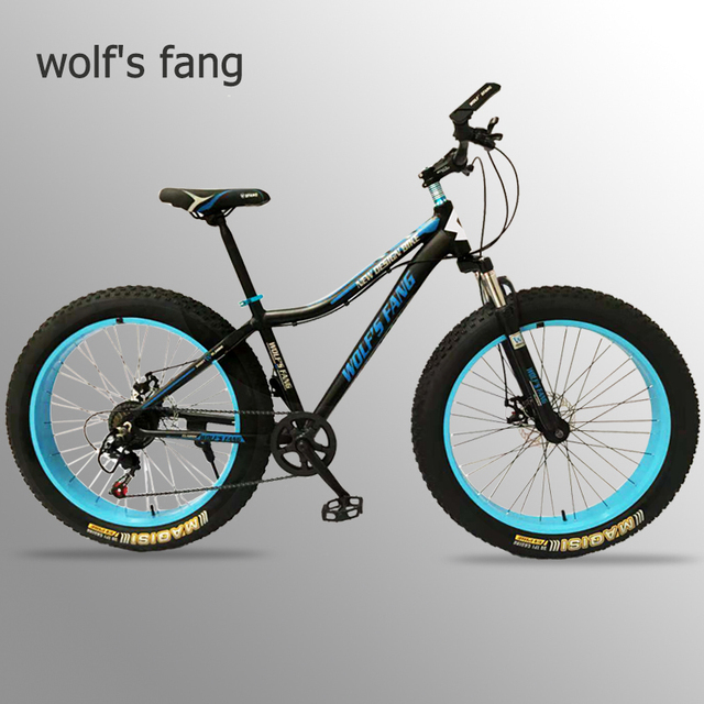 wolf's fang Mountain Bike 7 speed bicycle 26 Fat Bikes road bike Aluminum Alloy Resistance Rubber man bicycles Free shipping