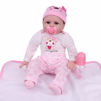 Cute Adorable Simulation Reborn Baby Dolls Lifelike Toddler Silicone Cloth Dolls Infant Baby Toys For Girls Birthday Gift
