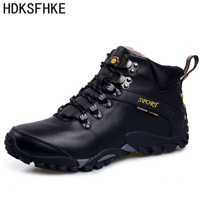 39-46 Winter leather Men Boots Casual Work Men Winter Shoes Male Rubber Snow Boot Leather Ankle boots for men