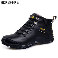 39 46 Winter Leather Men Boots Casual Work Men Winter Shoes Male Rubber Snow Boot Leather