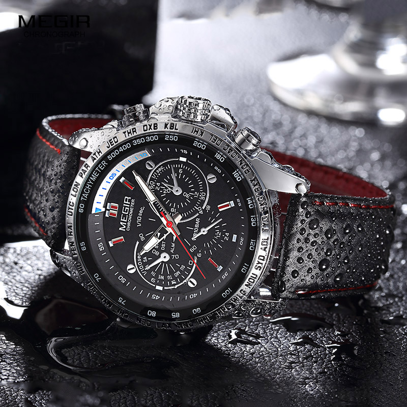 MEGIR Military Watch hot fashion man's quartz wristwatch brand waterproof leather watches for men casual black watch-in Quartz Watches from Watches    3