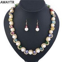 AWAYTR Costume Jewelry Sets Elegant Blue Crystal Pearl Necklace Earrings Jewelry Set Beads Wedding Jewelry 2018 New Fashion