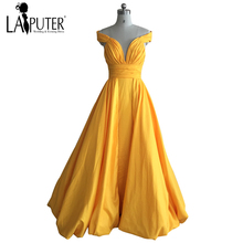 2017 Vintage Arabic Off The Shoulder Yellow Puffy Elegant Evening Prom Dresses Long Women Party Gown