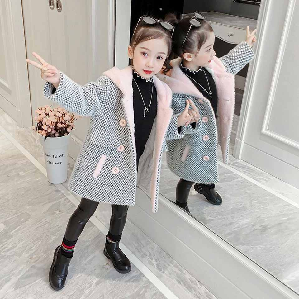 Girls Kids Winter Warm Floral Hooded Jacket Faux Fur Parka Coat Overcoat 4-11Y