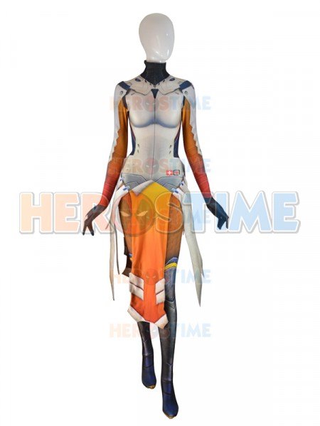 Mercy Costume Armored W Strips Spandex Girl Game Cosplay Suit Woman Superhero Costume Custom made