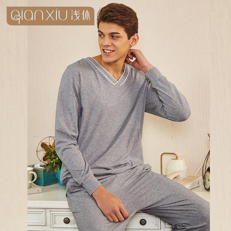 Men's Pajamas Spring New Long Sleeve Pure Cotton Pyjamas Sleepwear Male Solid Color Lounge Pajama Sets Man V-collar Nightwear