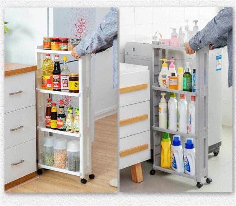 Las mercancías para estante de almacenaje para cocina, nevera, estante lateral de plástico para baño, ruedas de estante de baño ahorradoras de espacio, ruedas 2/3/4 LAY