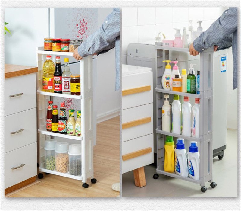 The Goods For Kitchen Storage Rack Fridge Side Shelf Plastic Bathroom Shelf Wheels Space Saving Bathroom Shelf Wheels 2/3/4 LAY