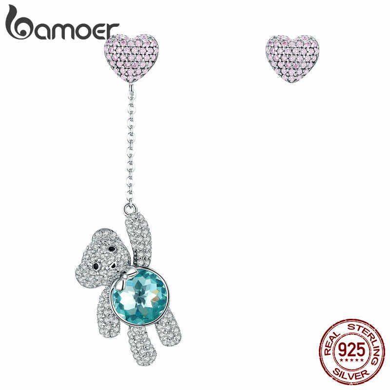 BAMOER Genuine 100% 925 Sterling Silver Animal Lovely Bear And Heart CZ Stud Earrings for Women Sterling Silver Jewelry SCE388