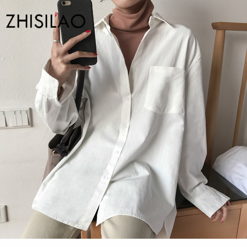 ZHISILAO Chic Solid Shirts Long Sleeve Cotton Linen Blouse Plus Size Shirts Oversize White Blouse Maxi Boyfriends Chemisier(China)
