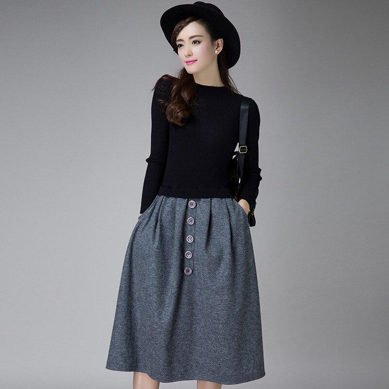 Long Knitted Sweater Dress Long Sweater Dress Ladies Sweater Dress Wool Sweaters Women Black Grey Long Dresses 167-95F