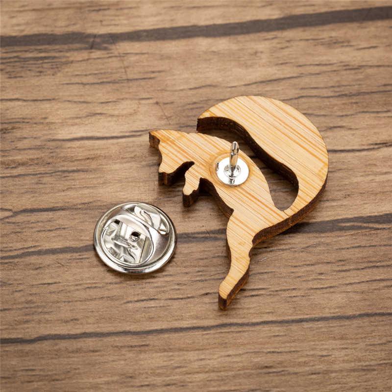 Yiustar Fashion Pin Fox Perhiasan untuk Wanita Gadis Indah Aniaml Kayu Kerah Pin Unik Fox Lencana Lucu Hutan Buatan Tangan Bros
