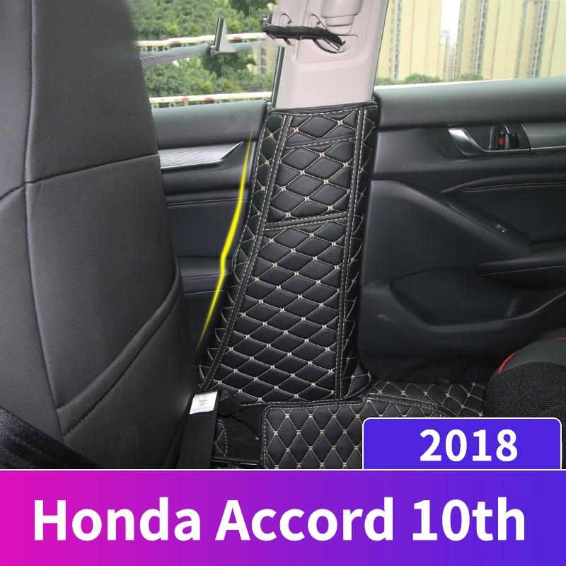 PU Leather Car Seat Belt Protective Pad Crash Mat Pillar Anti Kick Mat Covers For Honda Accord 10th 2019 Interior Accessories