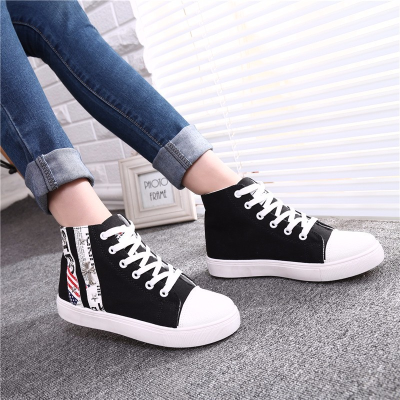 Flat High Top Canvas Women Shoes 17 Colors Spring Autumn Women's Flats Espadrilles Lace Up Casual Shoes Foot 22-24.5CM YD87 (23)