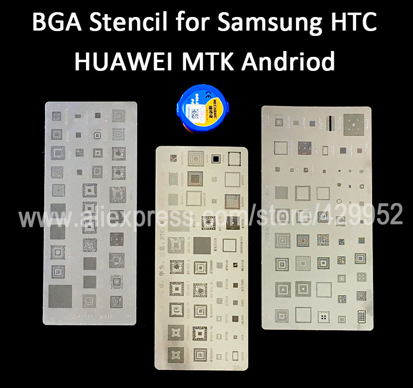 IC Chip BGA Reball Stencil Kit Set Solder Template For Samsung HUAWEI HTC MTK Android Soldering Tin Paste 3d ic chip bga reballing stencil kits set solder template for iphone a8 a9 a10 high quality